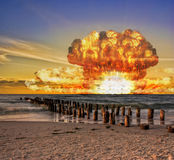 Nuclear bomb test on the ocean Stock Images