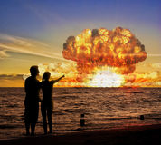 Nuclear bomb test on the ocean.  Stock Image