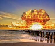 Nuclear Bomb Test On The Ocean Royalty Free Stock Image