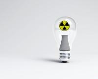 Nuclear bulb light. A nuclear bulb light with a nuclear sign Stock Photography