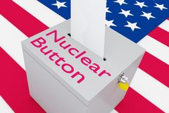 Nuclear Button concept. 3D illustration of Nuclear Button script on a ballot box, with US flag as a background Stock Photography