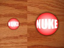 Nuclear Button on desk. Much bigger and more powerful Nuclear Button that works, on a wooden desk Stock Photos