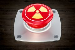 Nuclear button, radiation push-button on the wooden table, 3D r royalty free illustration
