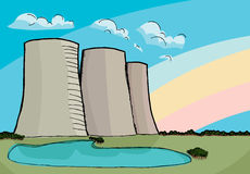 Nuclear Cooling Towers. Three nuclear power plant cooling towers with rainbow and reflecting lake Stock Photo