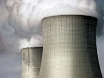 Nuclear Cooling Towers. The two cooling towers at the Byron Nuclear Generating Station in Illinois, USA Royalty Free Stock Image