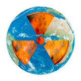 Nuclear danger. Concept of Earth with noclear danger on white background Royalty Free Stock Images