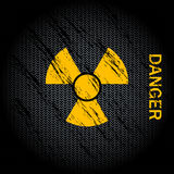 Nuclear Danger Background. Nuclear danger warning black background Stock Photo