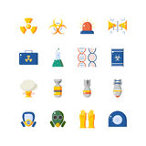 Nuclear danger and safety icon set. Nuclear danger and safety set. Colorful icons Royalty Free Stock Photography