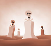 Nuclear Death Landscape. Illustration of a devastated desert nuclear landscape with skulls and cross bones coming out from reactors, symbolizing death, pollution Royalty Free Stock Image