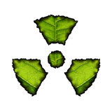 Nuclear Decay. Burned leaves in the form of radioactivity sign Stock Photography