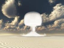 Nuclear detonation in Desert. Of white sands Stock Images