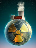 Nuclear Earth. Big nuclear power plant on top of the Earth. Digital illustration Royalty Free Stock Photography