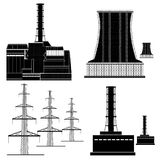 Nuclear electric plant station silhouette Royalty Free Stock Photography