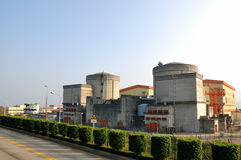 Nuclear electric power plant view Royalty Free Stock Images