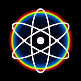 Nuclear Energy. Nuclear technology theme illustration with  white atom symbol and colorful rainbow energy aura over black space background Stock Photography