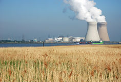 Nuclear energy. Nuclear power plant of Doel in the port of Antwerp Royalty Free Stock Photography