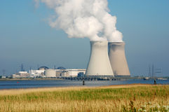 Nuclear energy. Nuclear power plant of Doel in the port of Antwerp Stock Photo