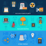 Nuclear energy flat banners set Royalty Free Stock Photography