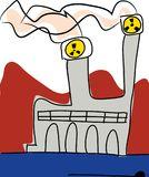 Nuclear energy, Global warming factory emissions. royalty free illustration