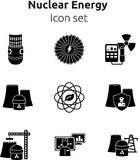 Nuclear energy icon set. royalty free stock photos