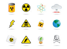 Nuclear energy icons. Nuclear energy and energy icons Vector Illustration