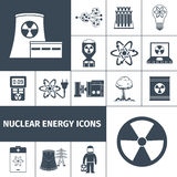 Nuclear energy icons set black Royalty Free Stock Images
