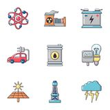 Nuclear energy icons set, cartoon style. Nuclear energy icons set. Cartoon set of 9 nuclear energy vector icons for web isolated on white background Vector Illustration