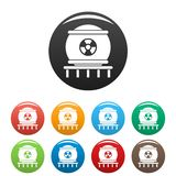 Nuclear energy icons set color stock illustration