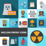 Nuclear energy icons set flat. Nuclear energy contribution in global electricity supply flat icons set with radioactivity sign abstract isolated vector Royalty Free Stock Photography