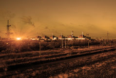 Nuclear energy and pollution. Nuclear Power Station . Royalty Free Stock Photos