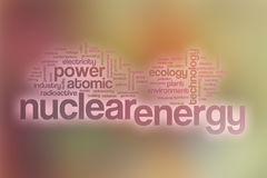 Nuclear energy word cloud with abstract background Stock Photos