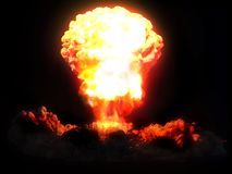 Nuclear explosion. 3d rendering of a nuclear explosion stock photo