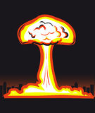 Nuclear explosion. In big city  illustration Royalty Free Stock Image