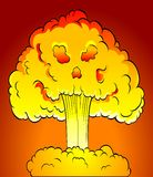 Nuclear explosion. With skull cloud. Vector illustration Royalty Free Stock Photos