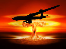 Nuclear explosion and bomber Stock Images