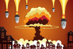 Nuclear explosion bright orange fiery mushroom cloud cap in city vector illustration