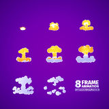 Nuclear explosion cartoon animation. 8 frames vector illustration