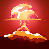 Nuclear Explosion. Cartoon Retro poster. Mushroom cloud. Vector illustration. Royalty Free Stock Image
