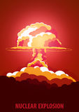 Nuclear Explosion. Cartoon Retro poster. Mushroom cloud. Vector illustration. Royalty Free Stock Photos