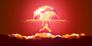Nuclear Explosion. Cartoon Retro poster. Mushroom cloud. Vector illustration. Stock Image