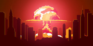 Nuclear Explosion. Cartoon Retro poster. Mushroom cloud. Vector illustration. stock illustration
