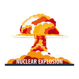 Nuclear Explosion. Cartoon Retro poster. Mushroom cloud. Vector illustration. Royalty Free Stock Images