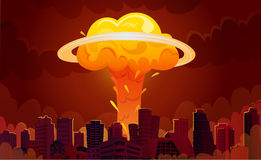 Nuclear Explosion City Cartoon Poster Stock Photos