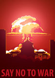 Nuclear Explosion in the city. China Say no to war. Cartoon Retro poster. Vector illustration. Stock Photography