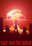 Nuclear Explosion in the city. France Say no to war. Cartoon Retro poster. Vector illustration. Royalty Free Stock Images