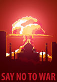 Nuclear Explosion in the city. India Say no to war. Cartoon Retro poster. Vector illustration. Royalty Free Stock Photos