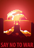 Nuclear Explosion in the city. Iran Say no to war. Cartoon Retro poster. Vector illustration. Royalty Free Stock Photo