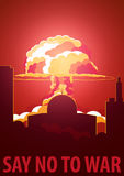 Nuclear Explosion in the city. Israel Say no to war. Cartoon Retro poster. Vector illustration. Royalty Free Stock Photos