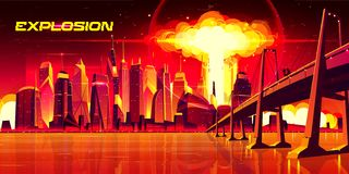 Free Nuclear Explosion City Metropolis Mushroom Cloud Royalty Free Stock Photos - 150285648