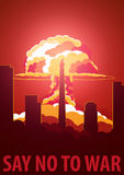 Nuclear Explosion in the city. North Korea Say no to war. Cartoon Retro poster. Vector illustration. Royalty Free Stock Photos